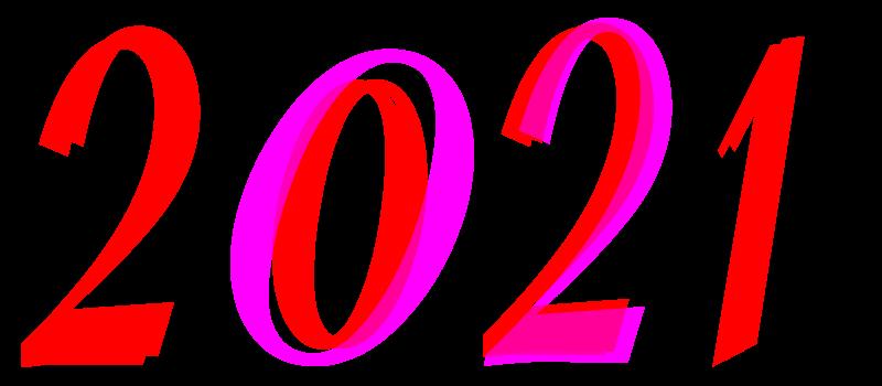 2021 à imprimer en chiffres. Dessins pour fêter l'an nouveau.